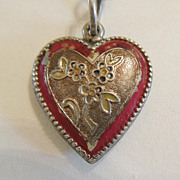 SALE Sterling Silver Puffy Heart Charm - Heart in Heart with Beaded Edge - Engraved 'Mother'