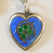 SALE Sterling Silver Puffy Heart Charm - Blue Enamel Triple Good Luck - Engraved 'Kay Edith'