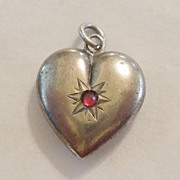 SALE Victorian Sterling Silver Puffy Heart Charm with Ruby Red Stone - Engraved 'ML'