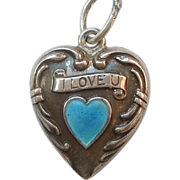 SALE Sterling Silver Puffy Heart Charm - Blue Enamel 'I love you'