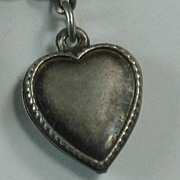 SALE Sterling Silver Puffy Heart Charm ~ Beaded Edge ~ 'Johnnie'
