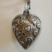 Extra Chubby Sterling Silver Puffy Heart Charm  - Repousse Heart Pierced with Arrow