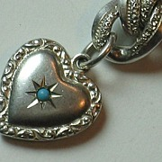 Exquisite Mini Sterling Double-sided Repousse Puffy Heart Charm with Stone Engraved 'Frank'
