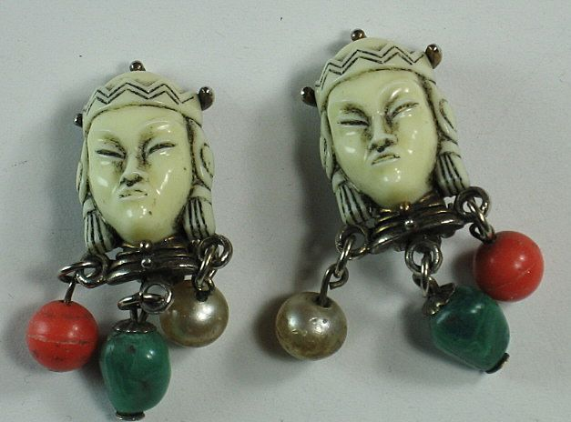 Unusual Selro Selini Signed Asian Princess Clip Earrings with Dangle Beads