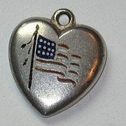 Sterling Silver Puffy Heart Charm ~ American Flag ~ Engraved 'B'
