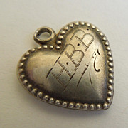 SALE Victorian Sterling Silver Puffy Heart Charm ~  Finely-Beaded Edge ~  Engraved 'H.B.B.'