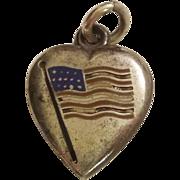 SALE Sterling Silver Puffy Heart Charm - Enamel American Flag - Engraved 'M'