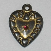 SALE Victorian Sterling Silver Puffy Heart Charm ~ Gold -Washed with Pink/Red Stone