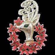 SALE Tancer II Reindeer and Poinsettia Wreath Christmas Pin