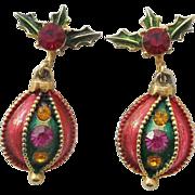 Vintage Christmas Ornament Dangle Clip Earrings