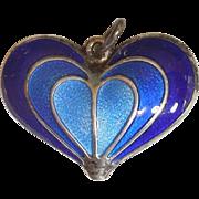 SALE David-Andersen Sterling Silver and Blue Guilloche Enamel Heart Pendant / Charm