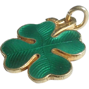 SALE David Andersen Sterling Silver and Guilloche Enamel Shamrock Charm - Old Mark with Heavy