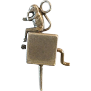 SALE Sterling Silver Monkey and Organ Grinder Charm - Movable
