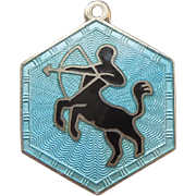 SALE Sagittarius David Andersen Sterling Silver and Guilloche Zodiac Charm
