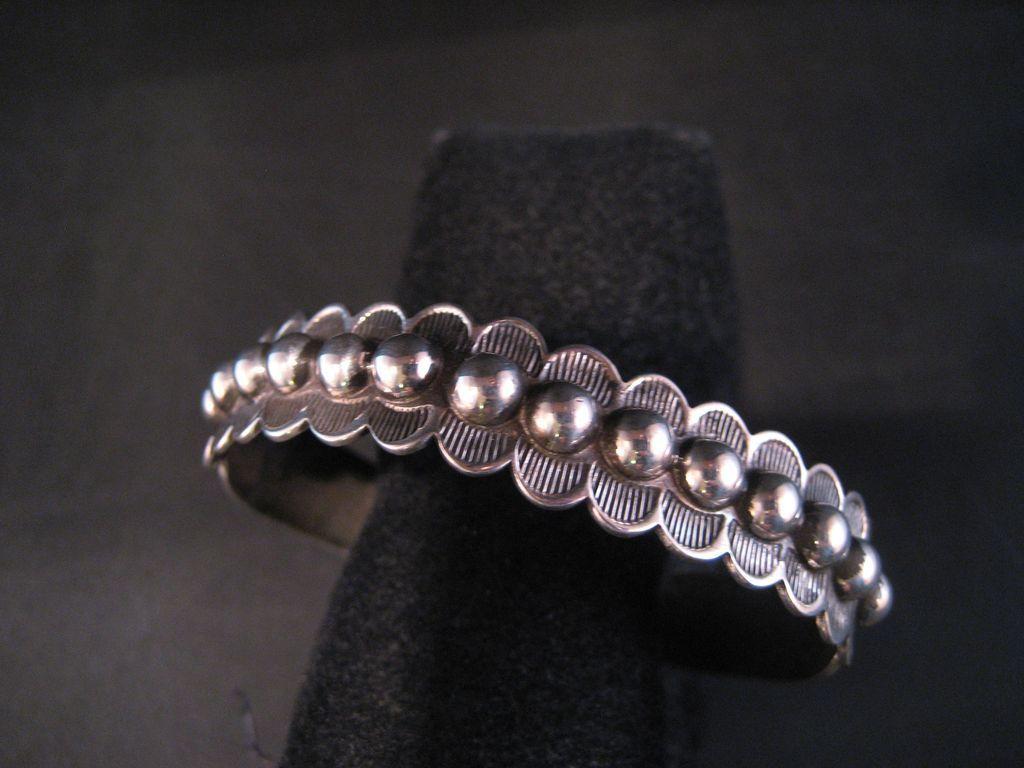 Vintage Southwest Sterling Silver Bracelet. Harvey era hand stampings, very good vintage condition