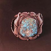 Vintage Navajo Handmade Turquoise Sterling Bracelet
