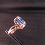 10 K yellow gold with beautiful synthetic Aquamarine Cocktail  Ring