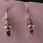 Sterling Silver Amethyst Overlay Dangle Earrings.