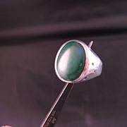Sterling Silver Malachite Bold Ring size 9