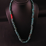 Turquoise, coral, sterling silver 18 inch necklace