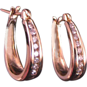 Diamond Hoop Earrings 14 K Yellow Gold .25 ct. total wt.
