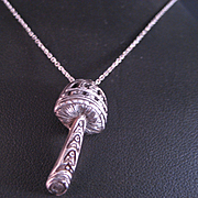 Sterling Silver Mushroom Pendant and Chain