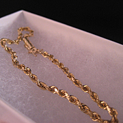 14 K yellow Gold Solid Rope Bracelet