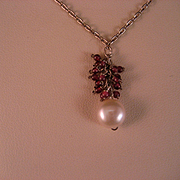 SOLD Vintage Sterling, Freshwater Pearl Garnet Necklace