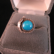 SALE Sterling Silver and Turquoise Navajo Ring