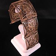 SALE Brass Filigree Bracelet India 1940's
