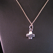 SALE Tiny Sterling Silver Cross and Chain