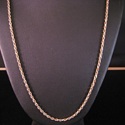 SALE 14 K Vintage Yellow Gold Solid Rope Chain