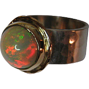 18 K Gold and Sterling Silver Opal Ring