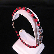 Sterling Silver and African Trade Bead Anklet