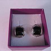 REDUCED Sterling Silver Black Onyx Earrings