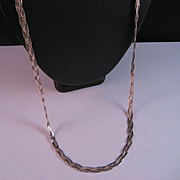 REDUCED Sterling Silver Vintage Braided Chain Necklace