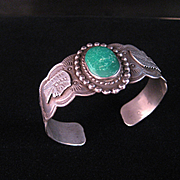 REDUCED Vintage Native American Fred Harvey Sterling Silver and Green Turquoise Bracelet