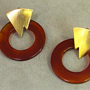 Les Bernard  Retro Lucite Tortoise Shell Earrings