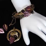 Vintage Whiting & Davis  Molded  Glass Purple Leaf Bracelet Brooch