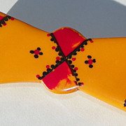 """SOLD Bakelite BOW Pin - """"Calico"""" - Hand Painted - Vintage - Original"""