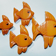 SOLD SALE: Bakelite Pins - 4 Fish - Carved - Vintage - Yellow - a set