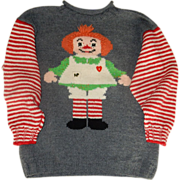 $ale: Raggedy Ann Hand Knit Sweater - Original - size 12-14