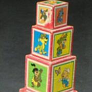 REDUCED SALE: Walt Disney Productions - 7 Wood Blocks - nesting - Vintage