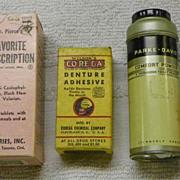 SOLD SALE: Drugstore - HBA - Powder-Adhesive-Dental-DrPierce - Group of 4 items - Vintage