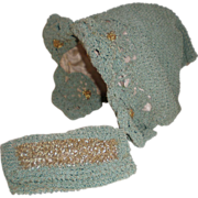 Antique Crocheted Doll Hat and Purse.
