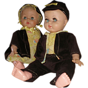 "REDUCED 20"" Vinyl Twin Brother & Sister  Baby Dolls = Unmarked- Circa 1950's"