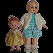 "SOLD 9"" Ideal and 6"" Knickerbocker Plastic Dolls"