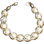 "Gold Plate and Faux Pearl 8"" Bracelet"