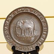 Circa 1890 Tin ABC Plate With Jumbo The Elephant