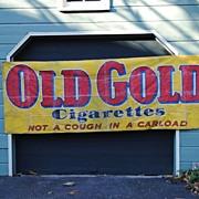 """Old Gold"" Cigarette Advertising Oilcloth Banner circa 1950...Not A Cough In A Carlo"